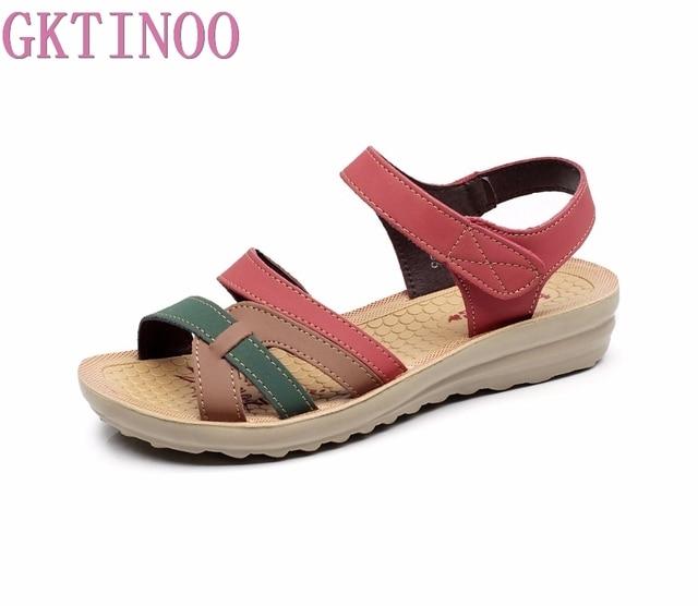 GKTINOO Sommer Frauen Sandalen Komfortable Damen Schuhe Strand Gladiator Sandale Frauen Casual Flache Sandalen Mode Schuh