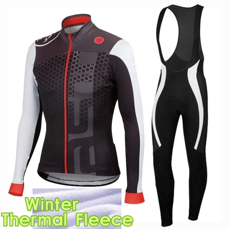 ФОТО 2017 Winter Thermal Fleece Pro Team Cycling Jersey Set Long Sleeve Bike Wear Clothing Cycl Pantalones Ropa Ciclismo Invierno