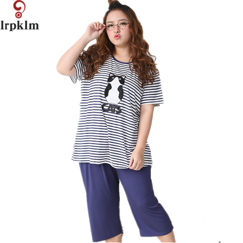 Hot Sale Women Pajamas Set Summer Girl Big Size Short Sleeve pyjamas Cat Print Striped Sleepwear
