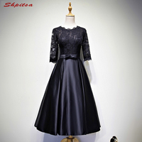 Formal Short Lace Cocktail Dresses with Sleeves Sexy Prom Party Coctail Dress Little Black Dress vestidos de coctel festa curto