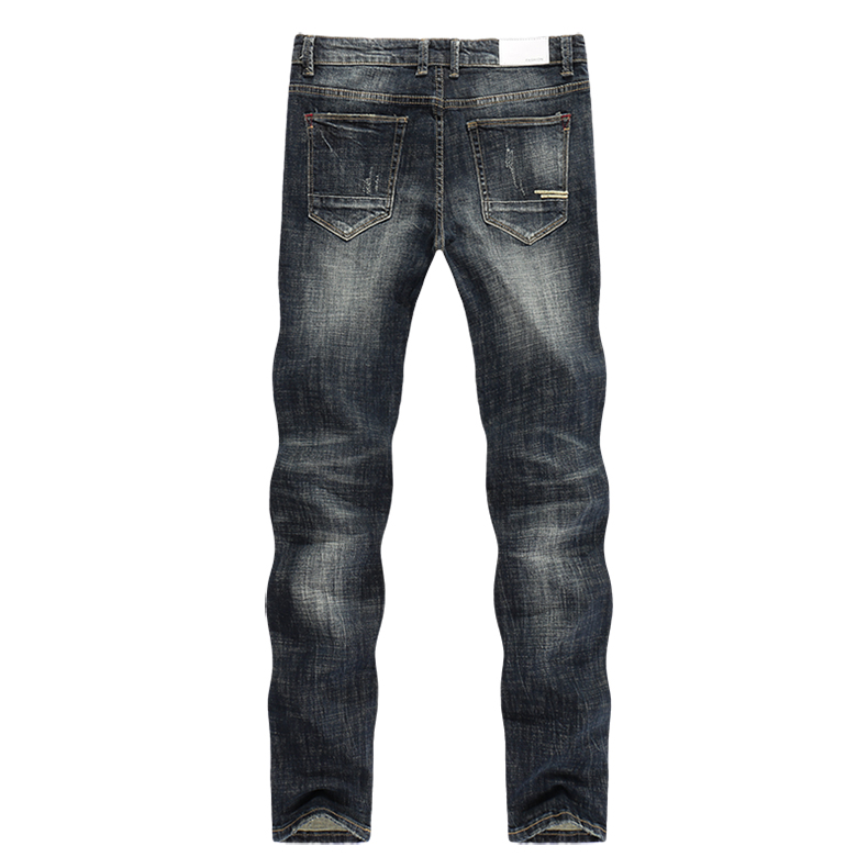 KSTUN Men's Jeans Retro Blue Elasticity Slim Straight Regular Fit Vintage Leisure Motorcycle Jeans Men Denim Pants Jeans Size 40 12