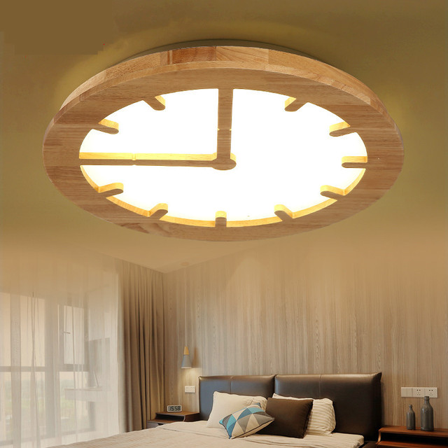 Creative Engraving Led Wooden Clock Bedroom Ceiling Light An Original Gear Modern Simple Living