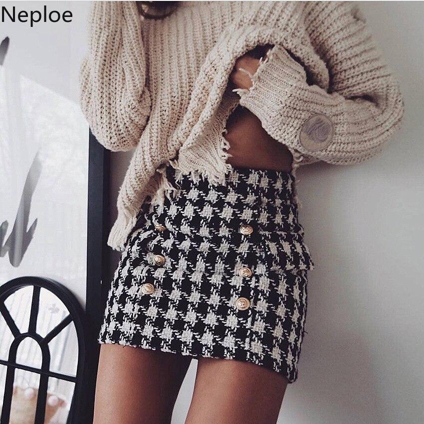 Nepole Plaid Zipper Placket European Style Women Bottom 2019 Metal Lion Buttons Miniskirt Fashion Ough Tweed Half Skirt 42742