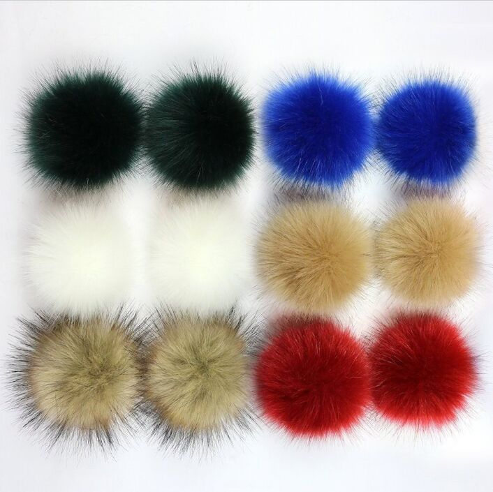 New 10cm 12cm 15cm Colorful Artificial Fur Pom Pom Fluffy Faux Fur Ball Hairy Ball For Knitted Beanies Hat Cap Accessory