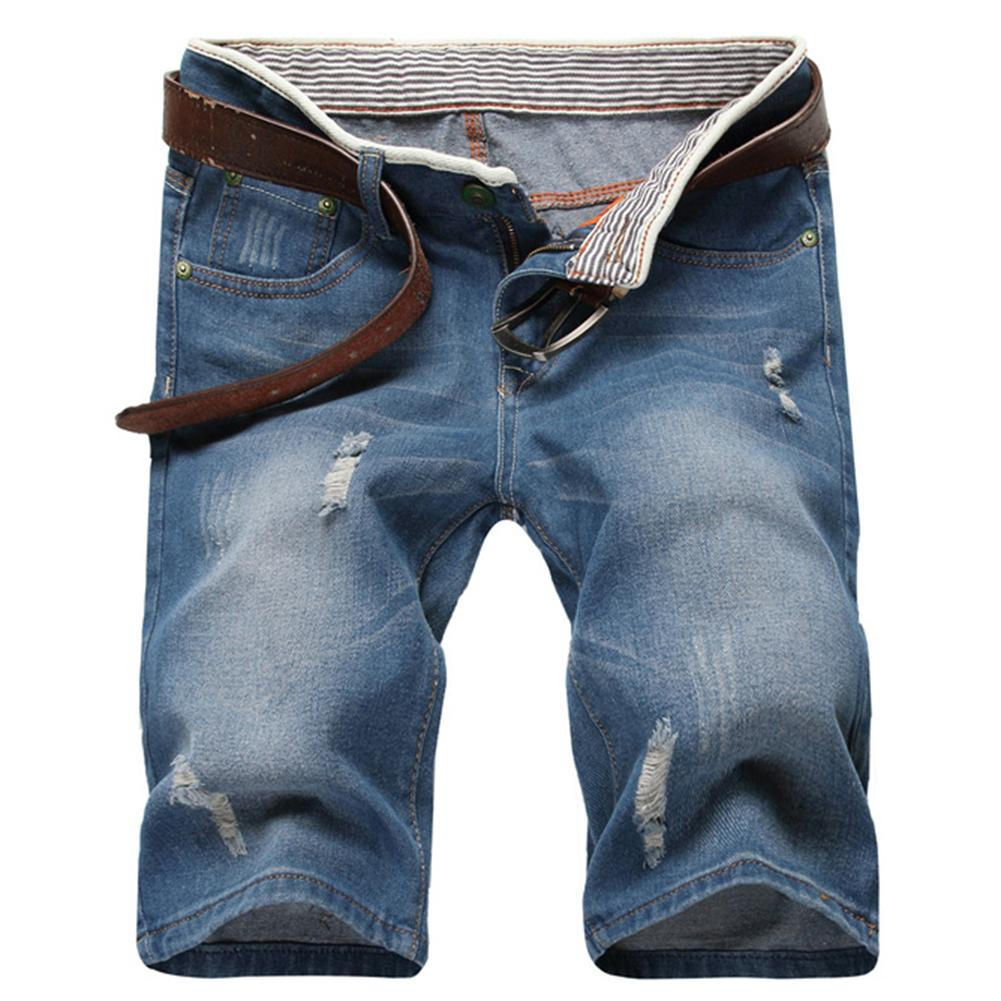 Summer Fashion Men Ripped Straight Denim Shorts   Jeans   Destroyed HoleFifth Pants