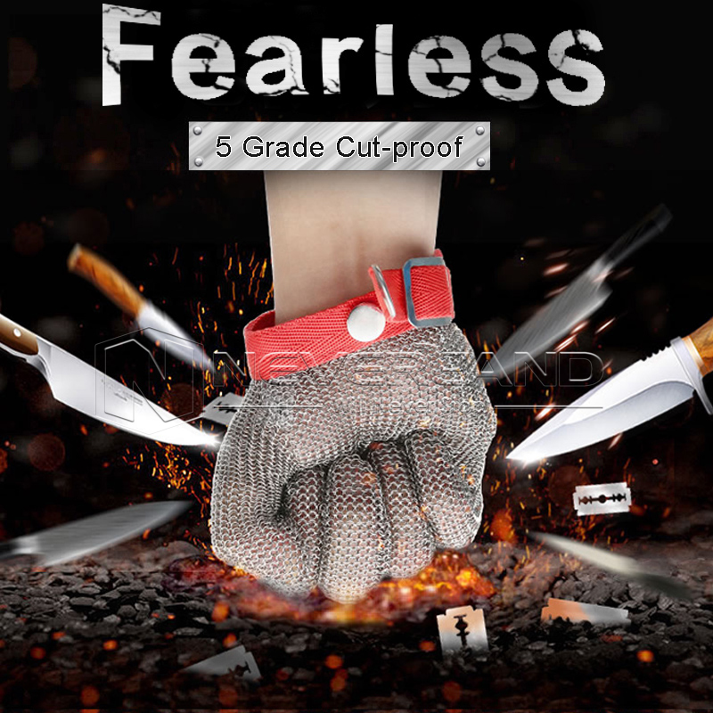 Safety Cut Proof Anti Abrasion Stab Resistant Stainless Steel Metal Mesh Protective Anti-cutting Glove Grade 5(Red Strap) cut resistant glove level 5 wire anti edge anti stab knife cut resistant gloves stainless steel wire1pcs price