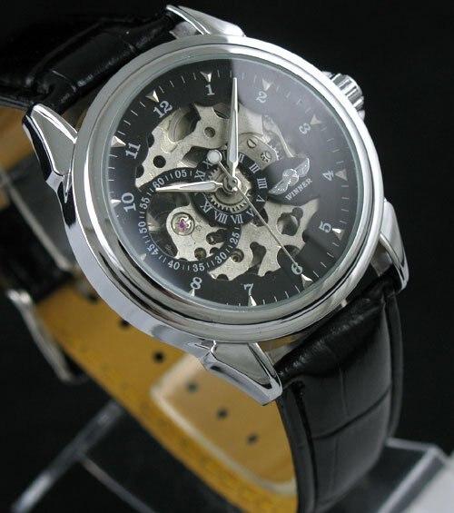 d16d8050785 Nova de Couro Preto Do Crânio de Ouro Dial Mens Relógio Mecânico freeship  quente