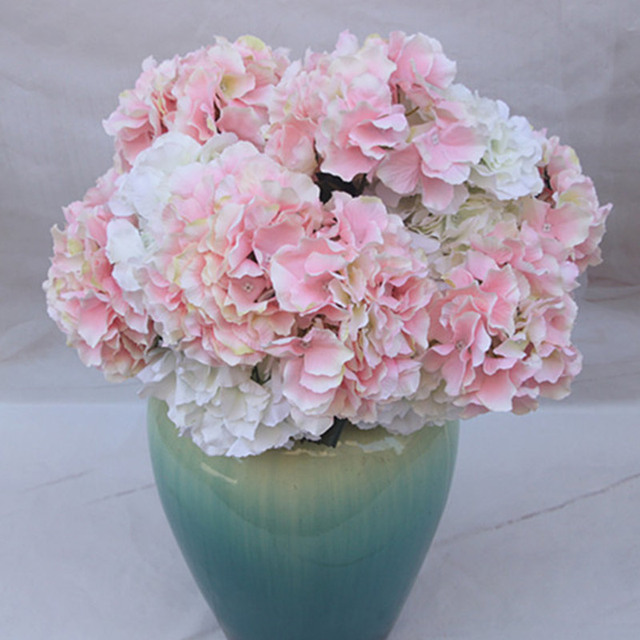 Aliexpress buy 5 heads hydrangea artificial flowers bouquet 5 heads hydrangea artificial flowers bouquet silk diy fake flower for wedding party home decoration e2s mightylinksfo