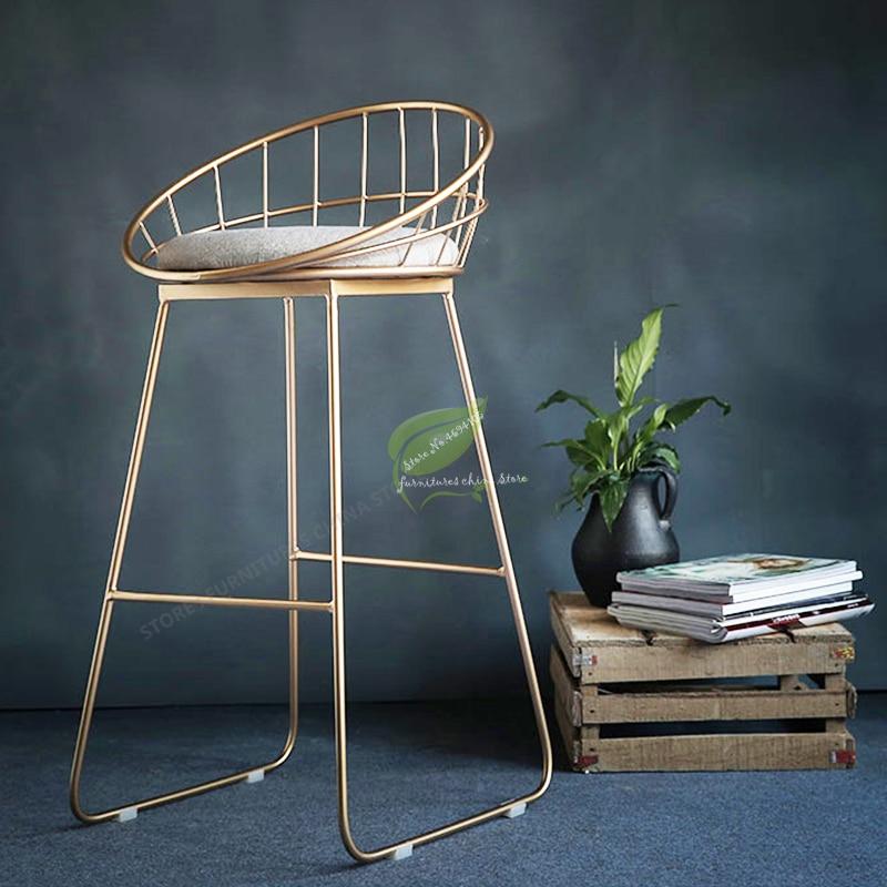 Modern Bar Stool Iron gold Bar Chair Seat Bar Furniture Beauty  dotomy Salon Furniture Make Up Chair Nordic Iron Art Gold Modern