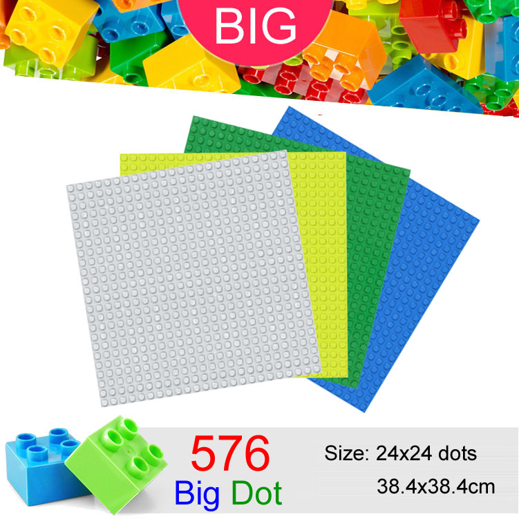 576 Big Dots 24x24 Big Baseplate Compatible With Duplo DIY Base Plate MOC Building Block Loose Brick 38.4*38.4cm umeile brand farm life series large particles diy brick building big blocks kids education toy diy block compatible with duplo