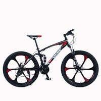"""SHANP Mountain Bike Steel Frame Full Suspension Frame Mechanical Disc Brake 24 Speed Shimano 26"""" Alloy Wheels"""