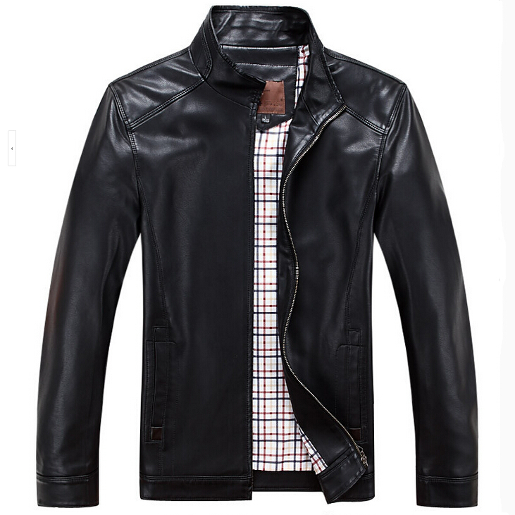 2019 Spring Autumn Leather Jacket Men Stand Collar