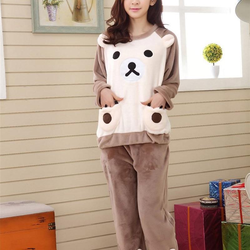 Sweet Women Warm Flannel   Pajama     Set   Sleepwear Cute Bear Tops Pants Home Wear