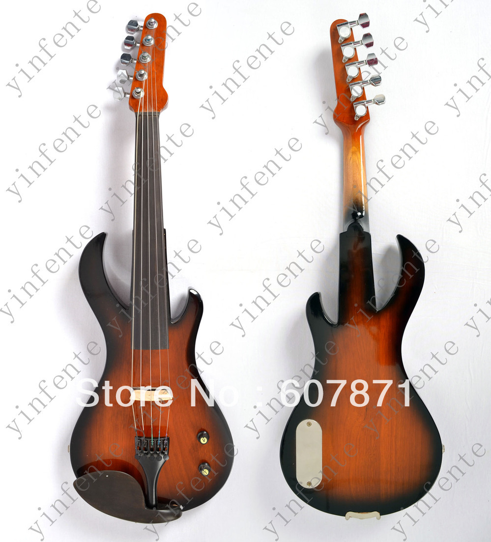 New   5 string 4/4 Electric violin Solid wood hand Guitar head style one red 4 string 4 4 violin electric violin acoustic violin maple wood spruce wood big jack color