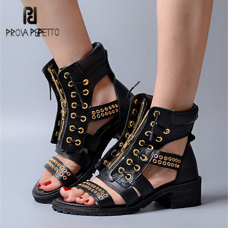 Prova Perfetto Punk Style Women Gladiator Sandals Square Med Heel Genuine Leather Platform Sandalias Mujer Front Zip Rivets Shoe prova perfetto hollow out ladies gladiator sandals women platform pumps rivets chunky high heel shoes woman sandalias mujer