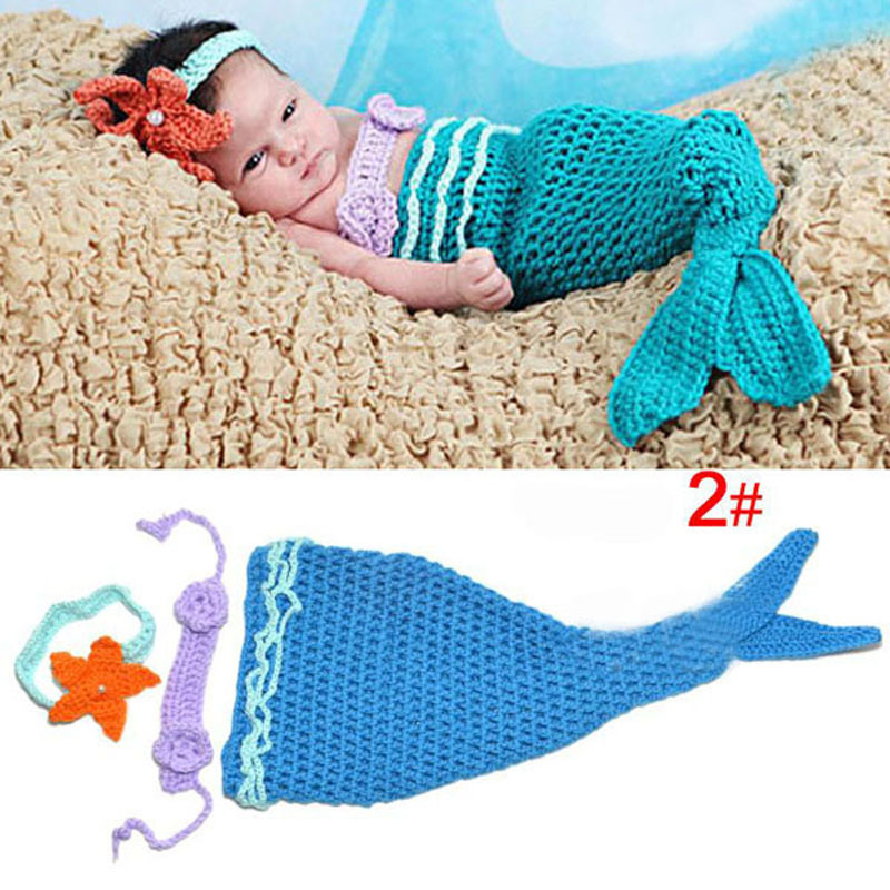 Aliexpress Buy Baby Infant Mermaid Tail Shells Crochet Knitted