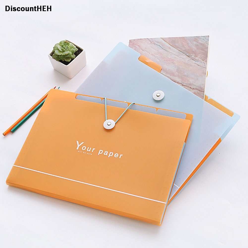 1pc Cute Korean Style Files Bag Simple Multilayer PP A4 File Folder Document Filing Bag Stationery Organizer