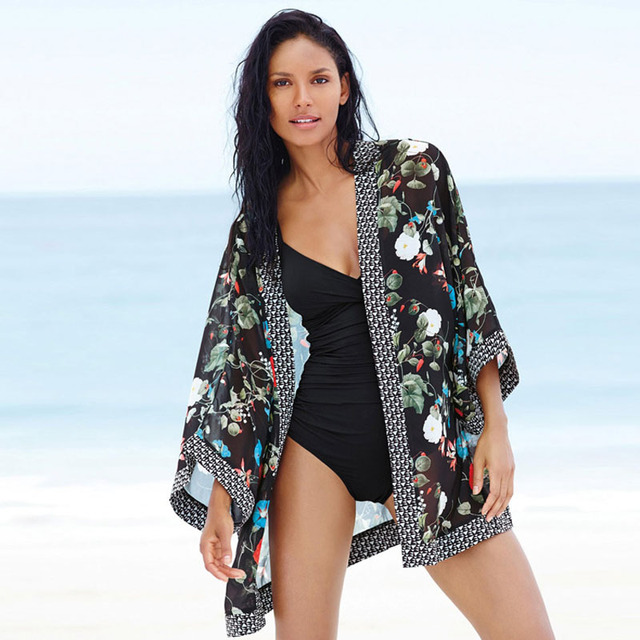 36fb6a845e Fashion Women Kaftans Kimono Cover Up Dress Ladies Sexy Swimsuit Coverup  Beach Tunic Bikini Cover Ups