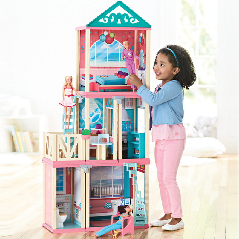 Big size 1.3m DIY Toys Doll House Accessories Miniature Furniture Wooden Dollhouse Model Toy For Girls Gift Make Up Room new fashion 1 6 size tulip side chair miniature dollhouse accessories classic furniture for dolls diy dollhouse model kit