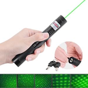 Image 2 - 10000M מצביע לייזר 5mW 18650 סוללה מופעל נטענת LED פנס 532nm 303 ירוק עט קרן גלויה אור LED לפיד