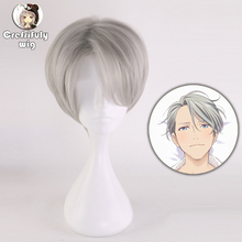 High Quality Yuri On Ice Victor Nikiforov Short Grey Cosplay Wig Men Synthetic Hair Costume Party Wigs + Free Wig Cap high quality free shipping japanese gintama wig hasegawa taizou short hair cosplay wig
