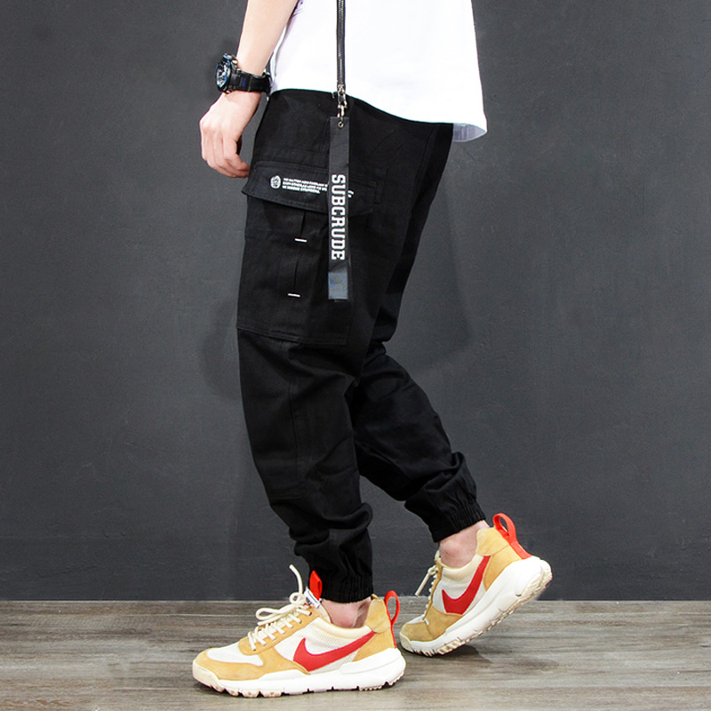 Multi Pockets Fashion Men Jeans Cargo Pants Japanese Style Ankle Banded Casual Leisure Jogger Pants Homme Punk Hip Hop Jeans Men