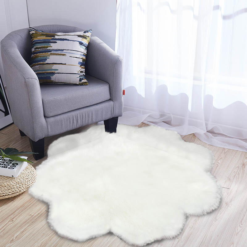 US $11.98 |Soft Faux Fur Wool Living Room Sofa White Carpet Plush Carpets  for Bedroom Sheepskin Round Fluffy Mats Rugs Decor Home Textile-in Carpet  ...