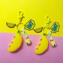 New Hot Keychain PVC cute yellow banana keychain key chain decompression artifact key holder bag pendant keyring gift women