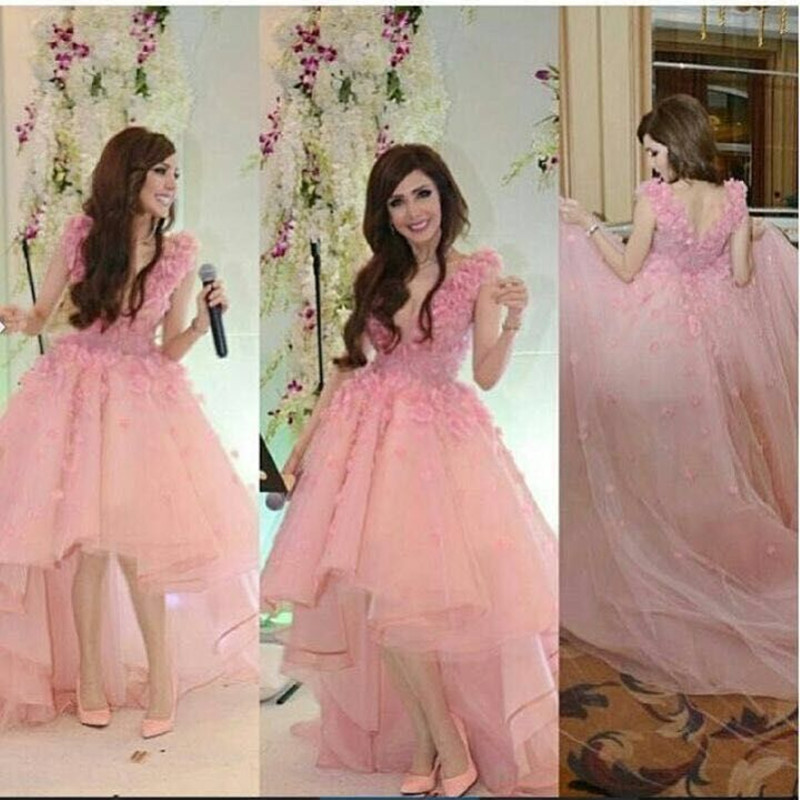 Pink Prom font b Dress b font Short Front Long Back Tulle Flowers V Neck font