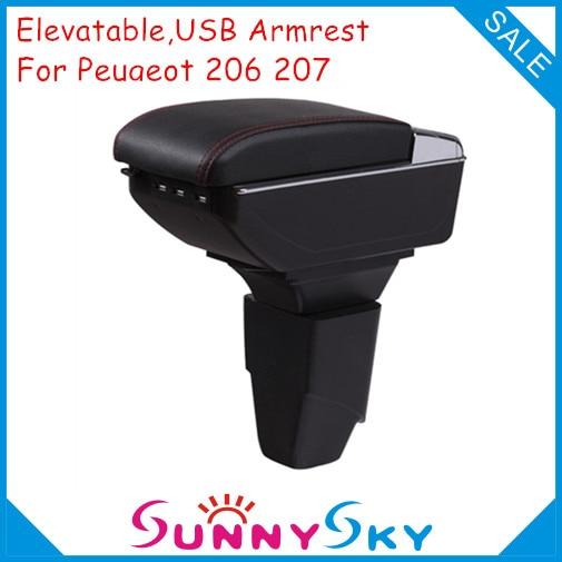 lift and no drill on car usb armrest for peugeot 206 207 car accessories central arm rest. Black Bedroom Furniture Sets. Home Design Ideas