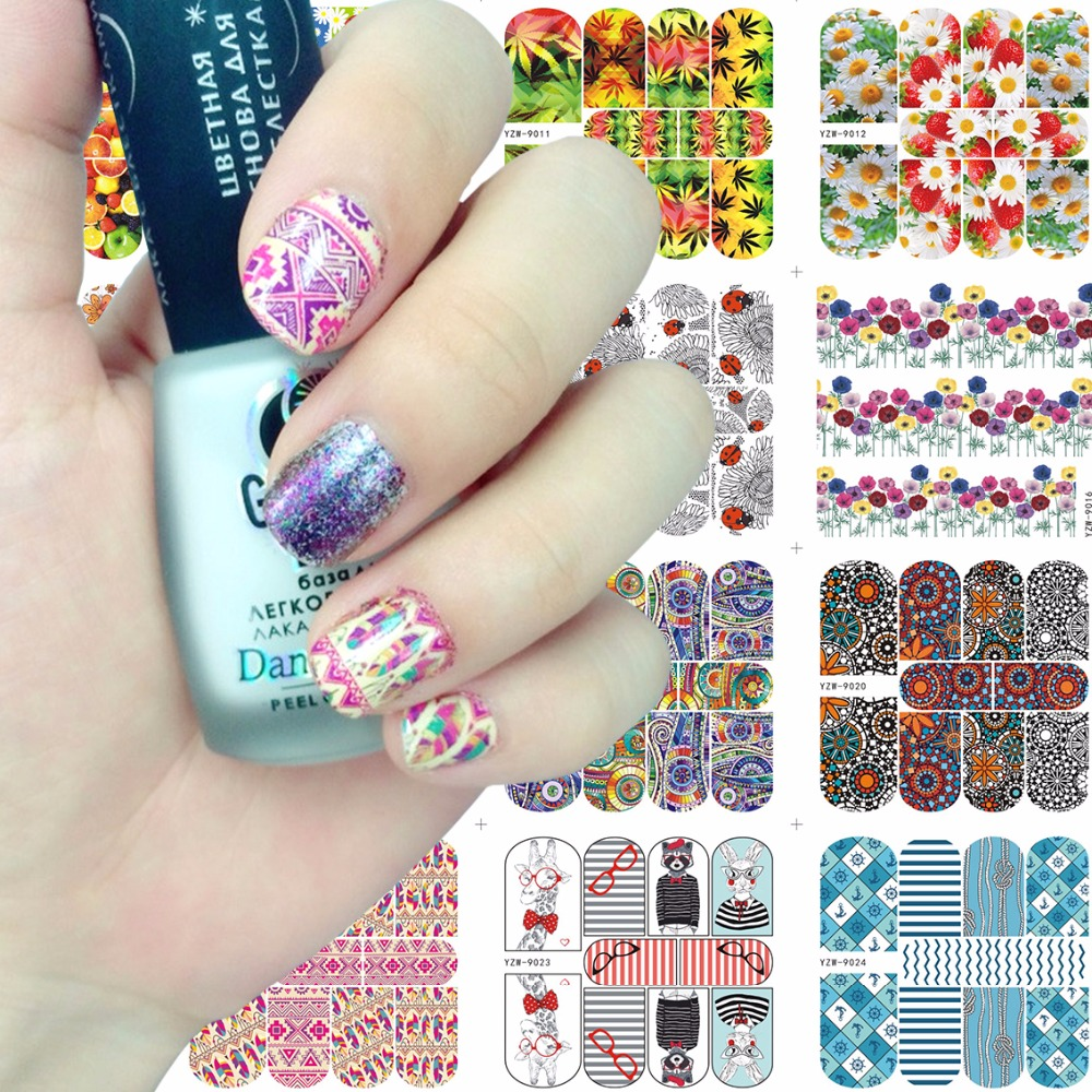 2020 New Arrival 70*80mm Nail Stickers YZWLE Water Transfer Decals Foils Polish DIY Nail Art Tools Nails Beauty Accessories