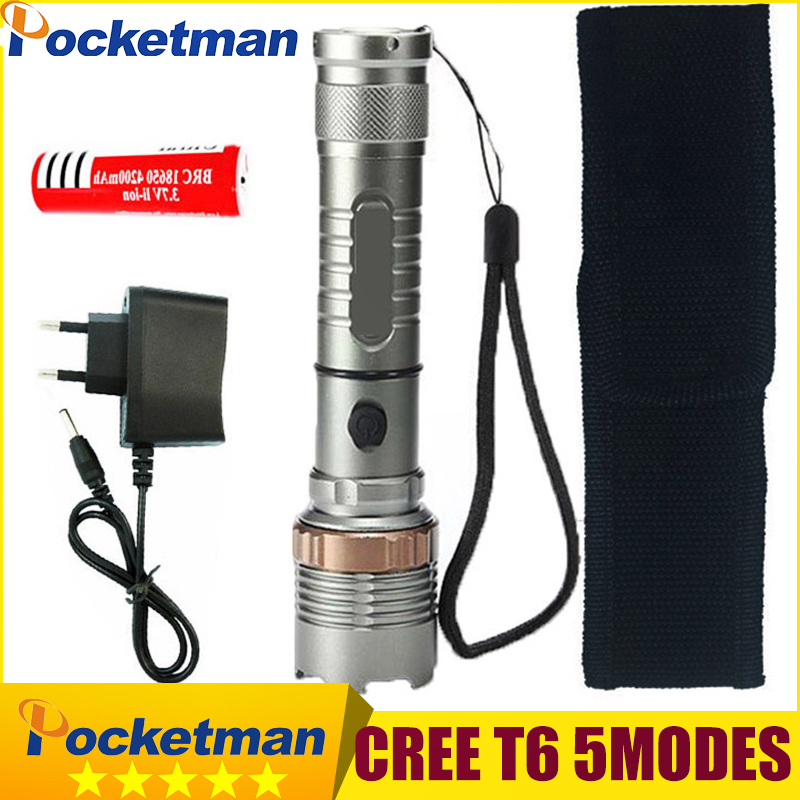3800LM 5 Mode Linterna Cree Xm-l T6 LED Flashlight Torch Rechargeable 18650 Battery Lampe De Poche Flashlight crazyfire led flashlight 3t6 3800lm cree xml t6 hunting torch 5 mode 2 18650 4200mah rechargeable battery dual battery charger