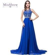 Распродажа! Длинное выпускное платье es вышитая ткань с синим бисером вечернее шифоновое платье вечернее платье для выпускного вечера сексуальное платье с открытой спиной Vestido de Festa Longo