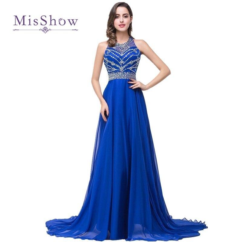 2018 Cheap New Long Prom Dresses Royal Blue Beaded Chiffon Evening