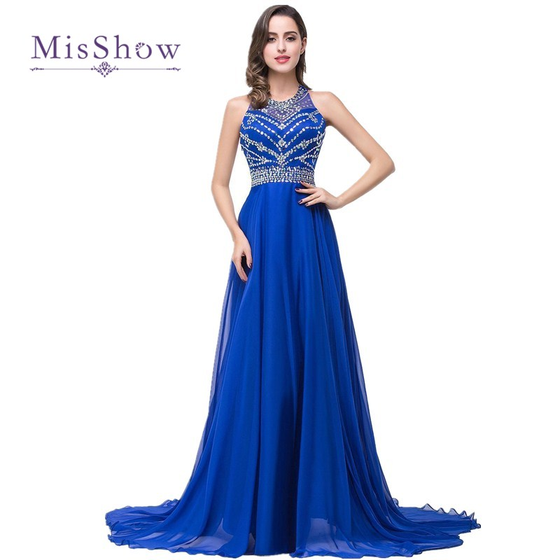 2018 Cheap New Long   Prom     Dresses   Royal Blue Beaded Chiffon Evening Party Formal   Prom     Dress   Sexy Backless Vestido de Festa Longo