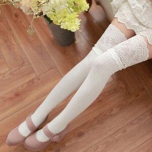 Image 2 - 新しい秋のファッションセクシーなレースストッキング暖かい腿の高ストッキングオーバーニーソックスストッキングガールズレディース女性暖かいタイツ