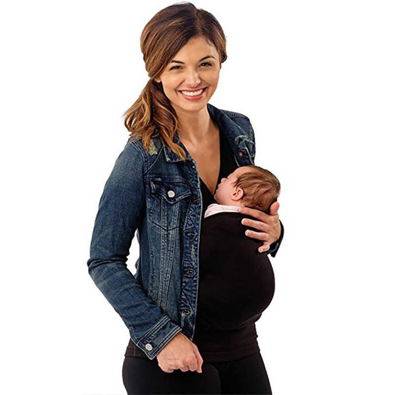 여자 남자 코 튼 t-셔츠 캥거루 조끼 육아 탑 아기 캐리어 옷 어머니 착용 조끼