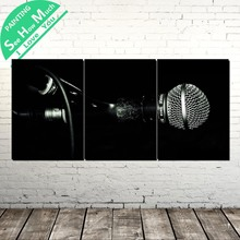 3 Piece black microphone  Modern Wall Pictures for Bedroom Print Canvas Painting Living Room Decoration Decor Home