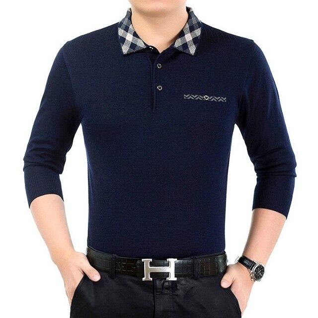 Мода Цветочный воротник мужчин рубашки Поло 2016 Осень С Длинным рукавом марка бизнес мужские рубашки ПОЛО высокого качества camisa hombre