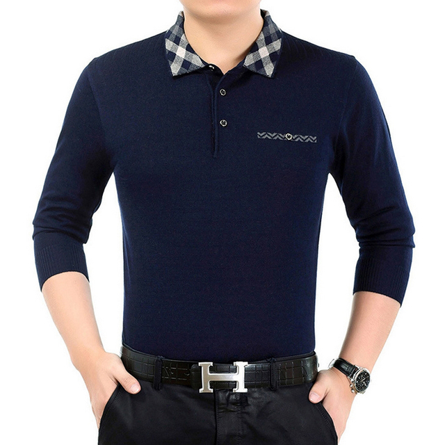 Fashion Floral collar men Polo shirt 2016 Autumn Long sleeve brand bussiness Men's POLO shirts high quality camisa hombre