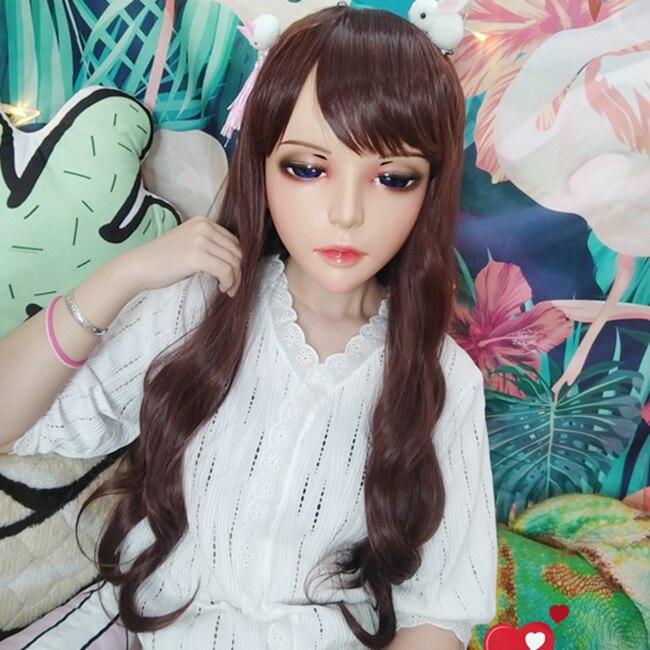 Considerate jiao-02 female Sweet Girl Resin Half Head Kigurumi Bjd Mask Cosplay Japanese Anime Role Lolita Mask Crossdress Doll Mask