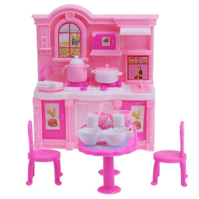 Dolls Kitchen Furniture Accessories For Barbie Doll Dining Table Chairs  Dinnerware Cabinet Furnitures Doll Pink