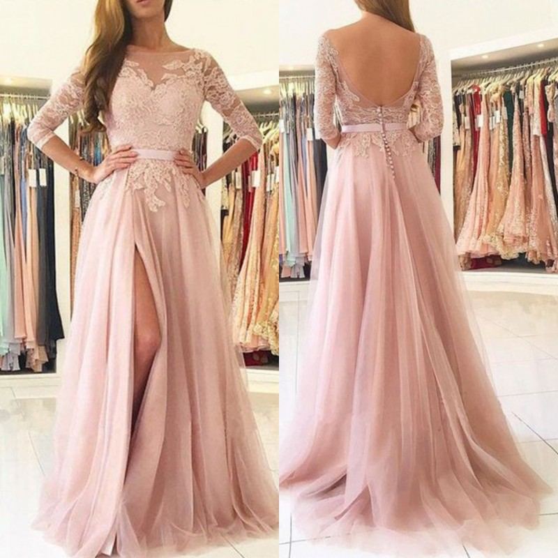 Backless Split Lace   Prom     Dresses   2019 Sexy Boat Neck 3/4 Long Sleeves Gala Jurken Vestido De Festa for Party Gowns