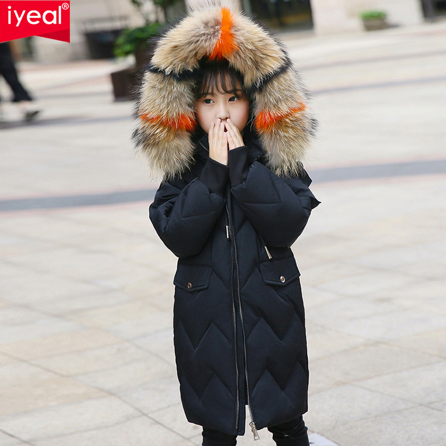 IYEAL Winter Girl's Down Jackets Coat Children Girl Warm Thick Duck Down Colorful Fur Hooded Outerwear for Kids Clothes 4-12Y kids parkas hooded coat children s winter jackets warm down cotton for girl clothes children outerwear thick overcoat enfant