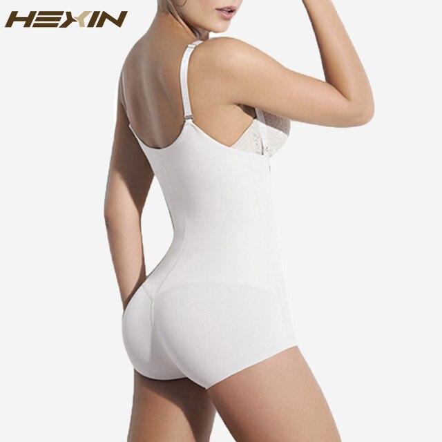 HEXIN Branco 3 Ganchos U-volta Bodysuit Mulheres Fajas Reductoras Perda de Peso Emagrecimento Corpo Cintura Shaper Vest Cintura Instrutor Shapewear