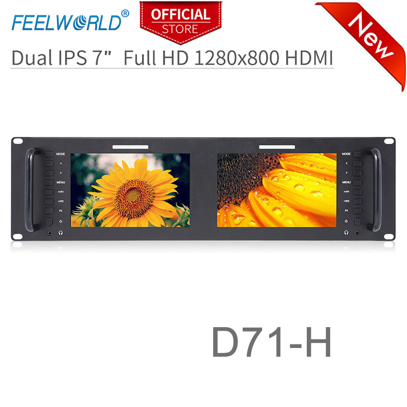 Feelworld D71-H Dual 7 Inch 3RU IPS 1280 X 800 HDMI LCD Rack Mount Monitor Portable 2 Screens Broadcast Monitor
