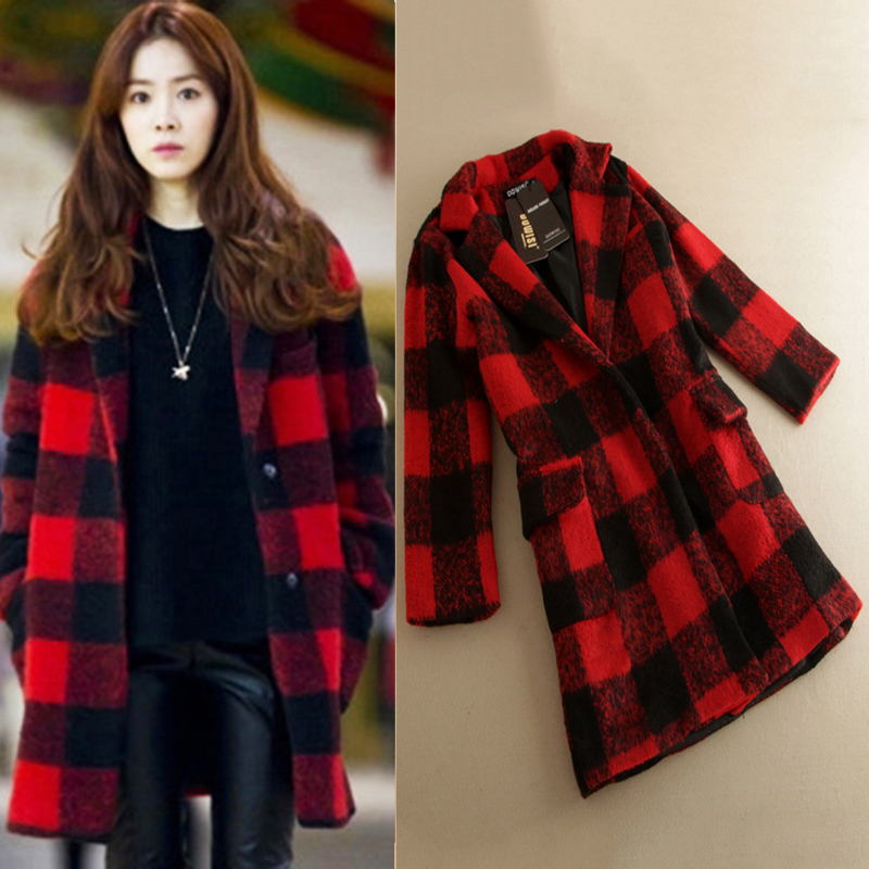 Online Buy Wholesale red black check coat women from China red