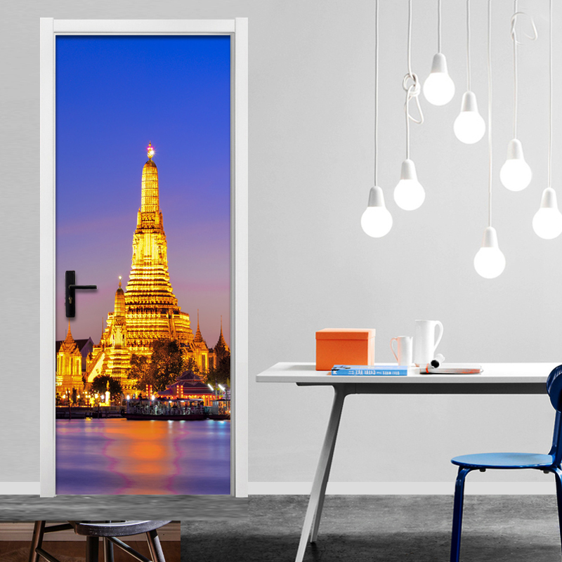 Modern Simple Iron Tower Mural Wallpaper Restaurant Living Room Door Murals 3D Wall Sticker PVC Moisture-Proof Vinyl Home Decor