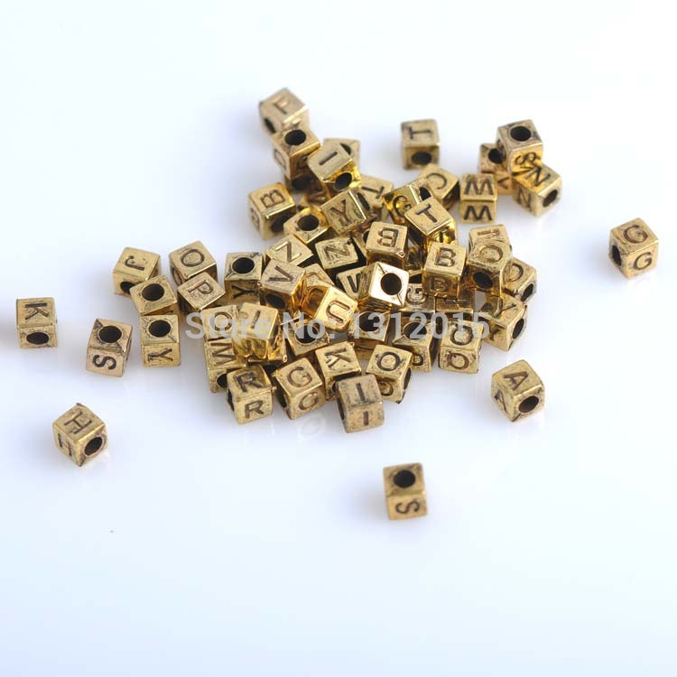 Beads Popular Brand 2017 New Diy 400pcs 6mm Gold Mixed Cube Alphabet & Letter Acrylic Charming Spacer Beads For Jewelry Diy Ykl0112 Distinctive For Its Traditional Properties