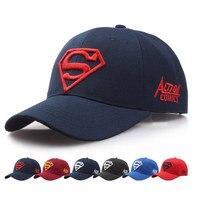 NEW Hot Women Popular Baseball Cap Red Black Iron Man Men Black Make Pattern Superman Cap
